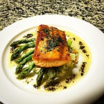 Pan Seared Scottish Salmon with Basmati Rice, Asparagus & a…