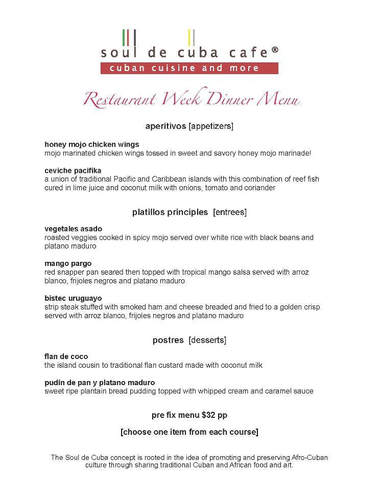 Soul de cuba rw dinner menu connecticut restaurant week for Soul fish menu