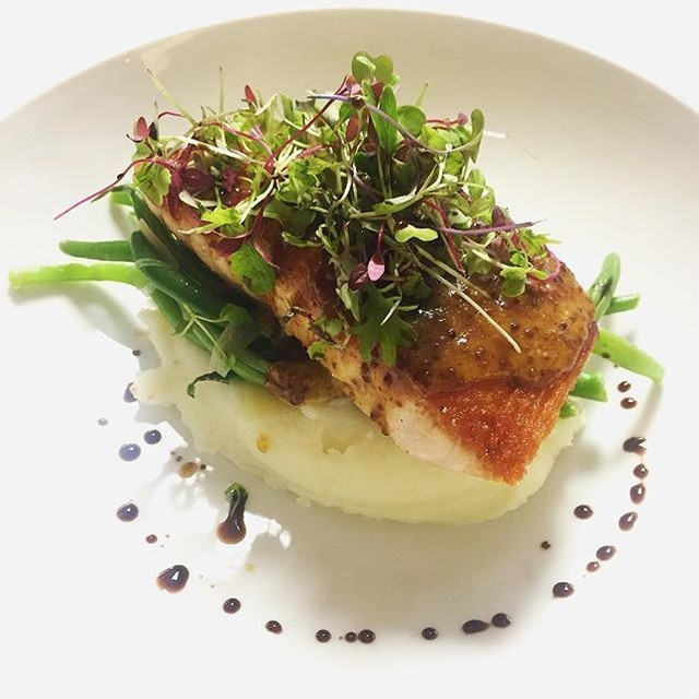 Salmon with mustardo glaze mashed potatoes amp haricot vert fromhellip