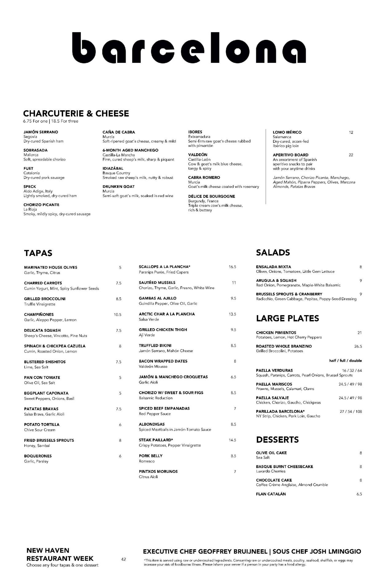 Barcelona New Haven Restaurant Week Menu