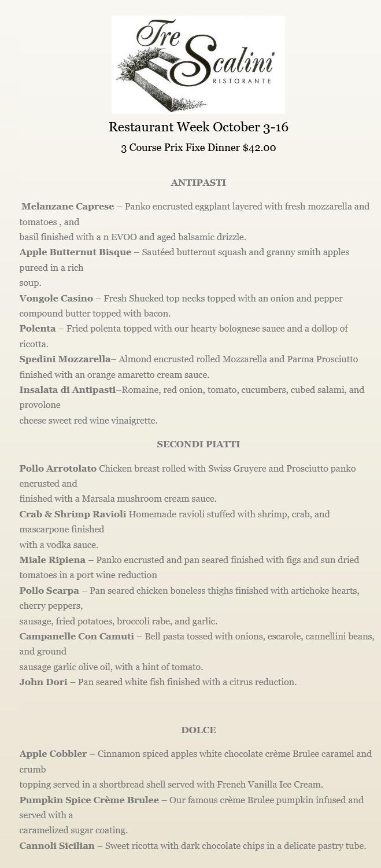 Tre Scalini New Haven Restaurant Week menu