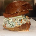 Chicken salad sandwich with asiago cheese, Sriracha mayo AND a…