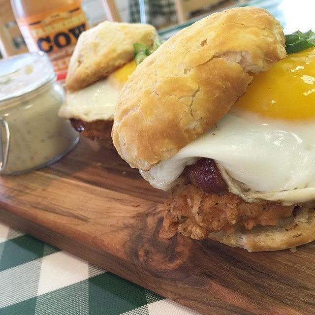 Buttermilk fried chicken with applewood smoked bacon sunny side uphellip