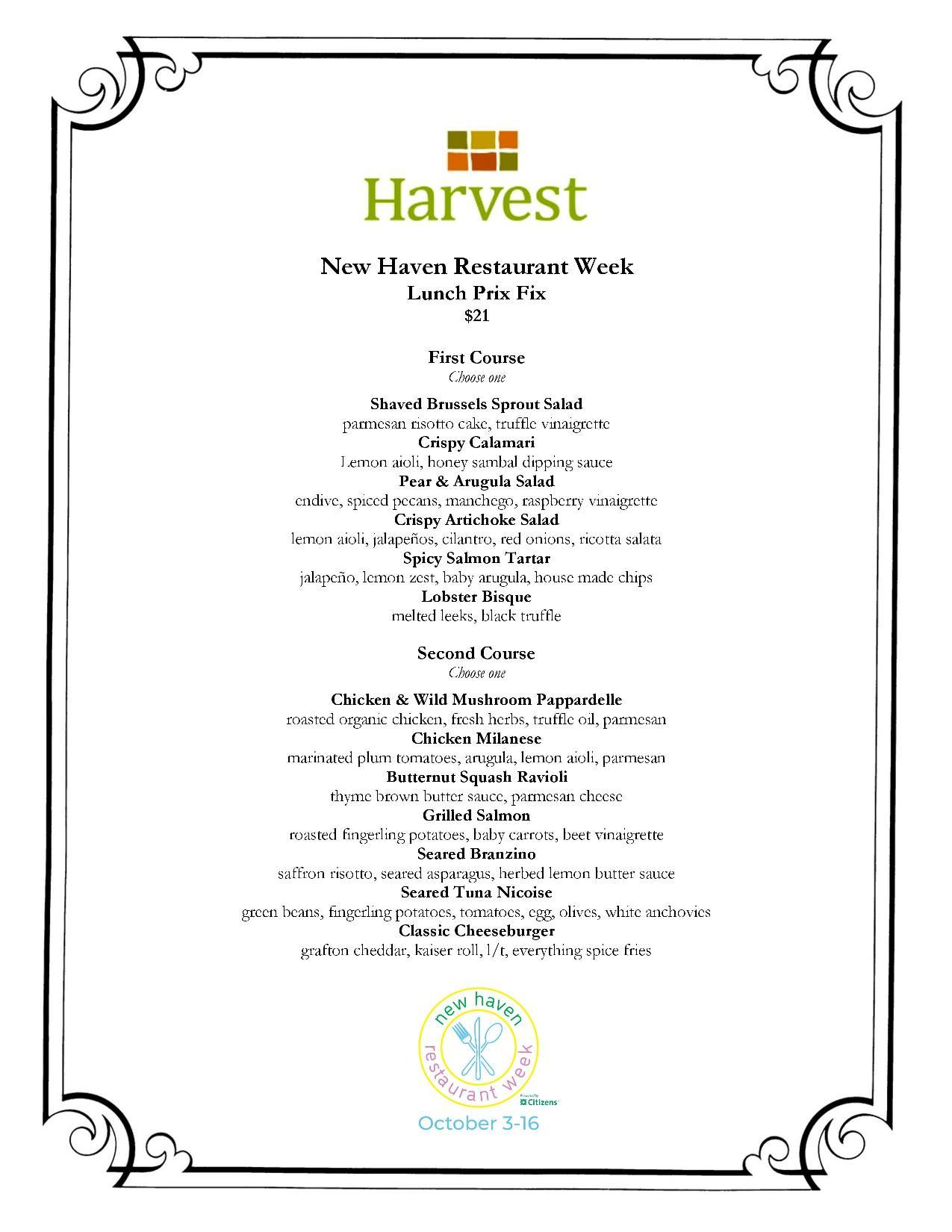 Harvest New Haven Restaurant Week 2021
