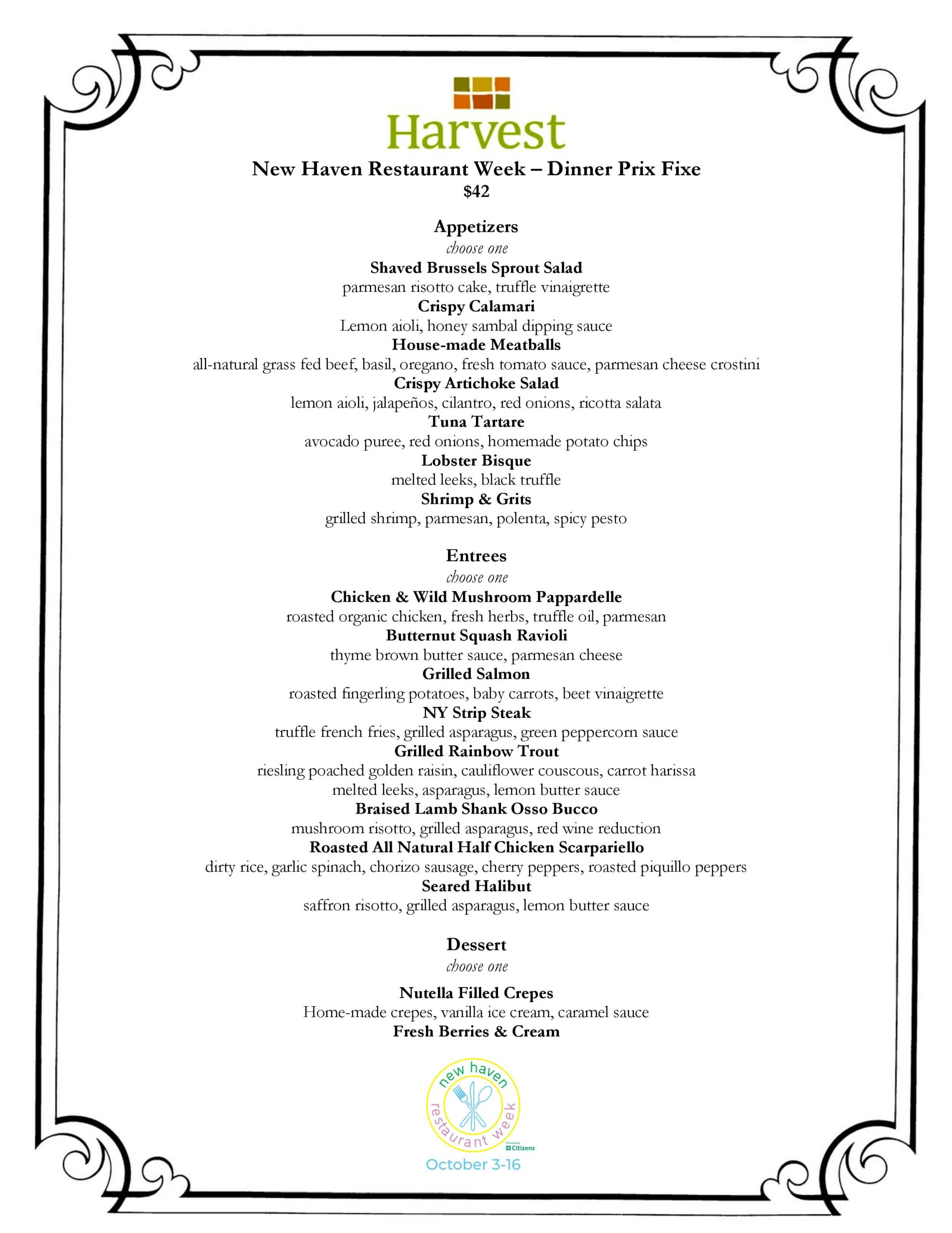Harvest New Haven Restaurant Week