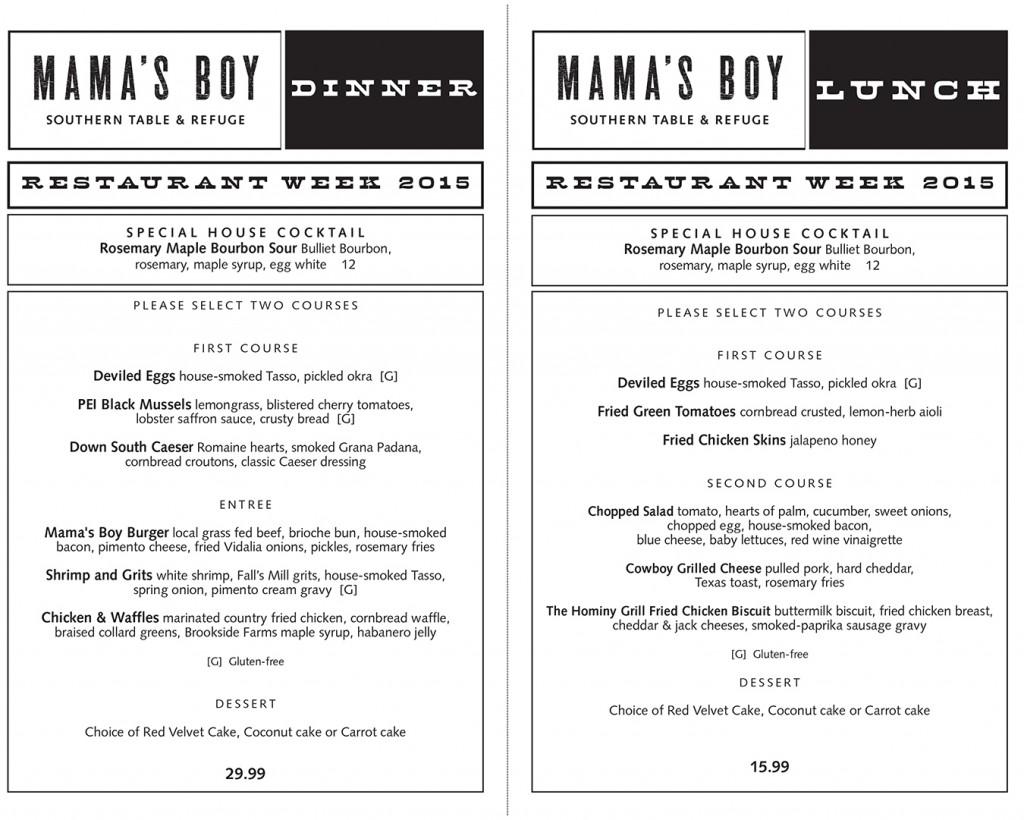 Mama's Boy Sono Eats menu
