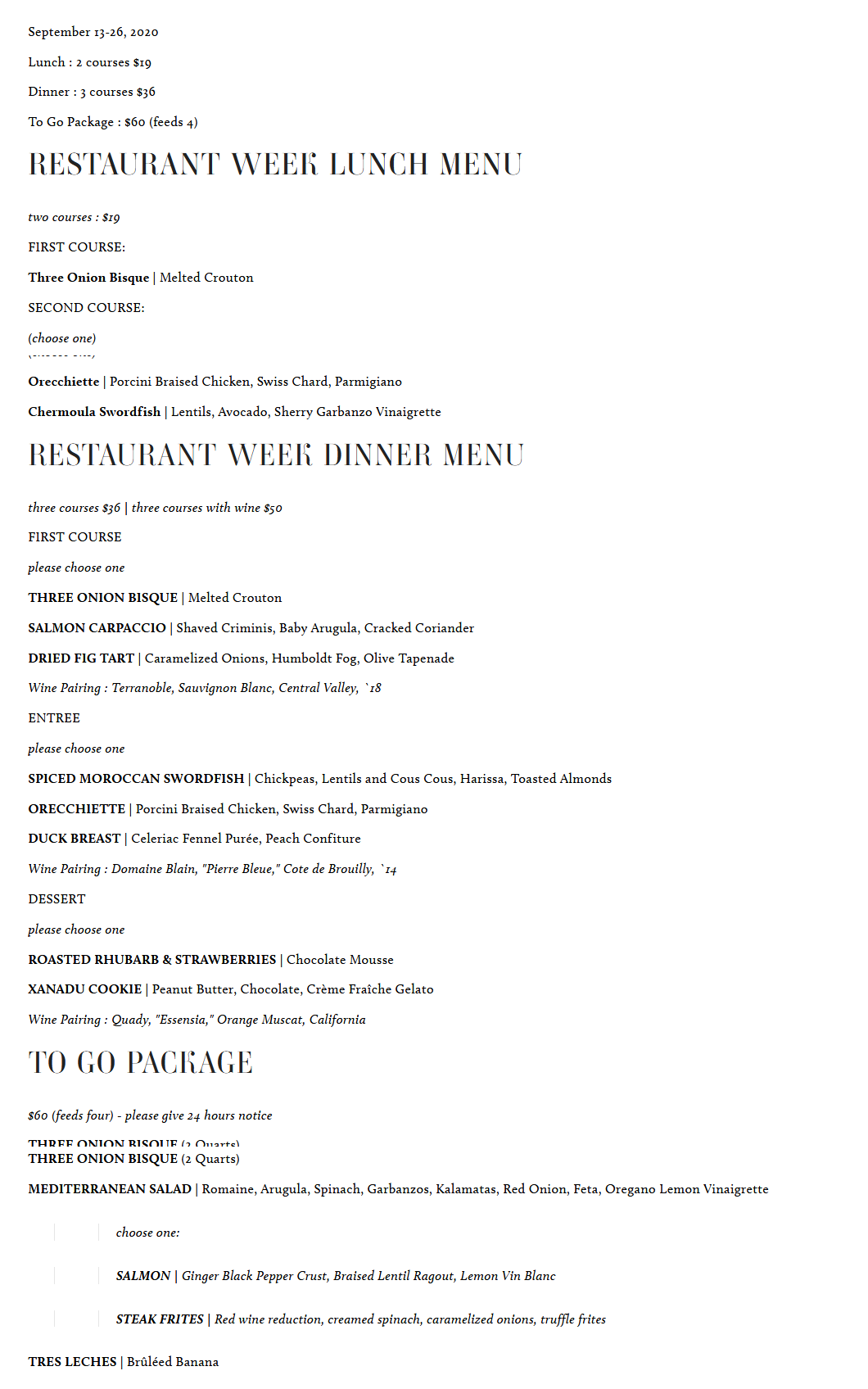 Shell and Bones Restaurant Week Menu