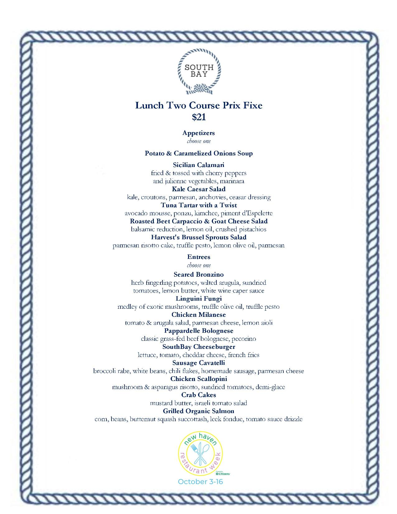 South Bay New Haven Restaurant Week
