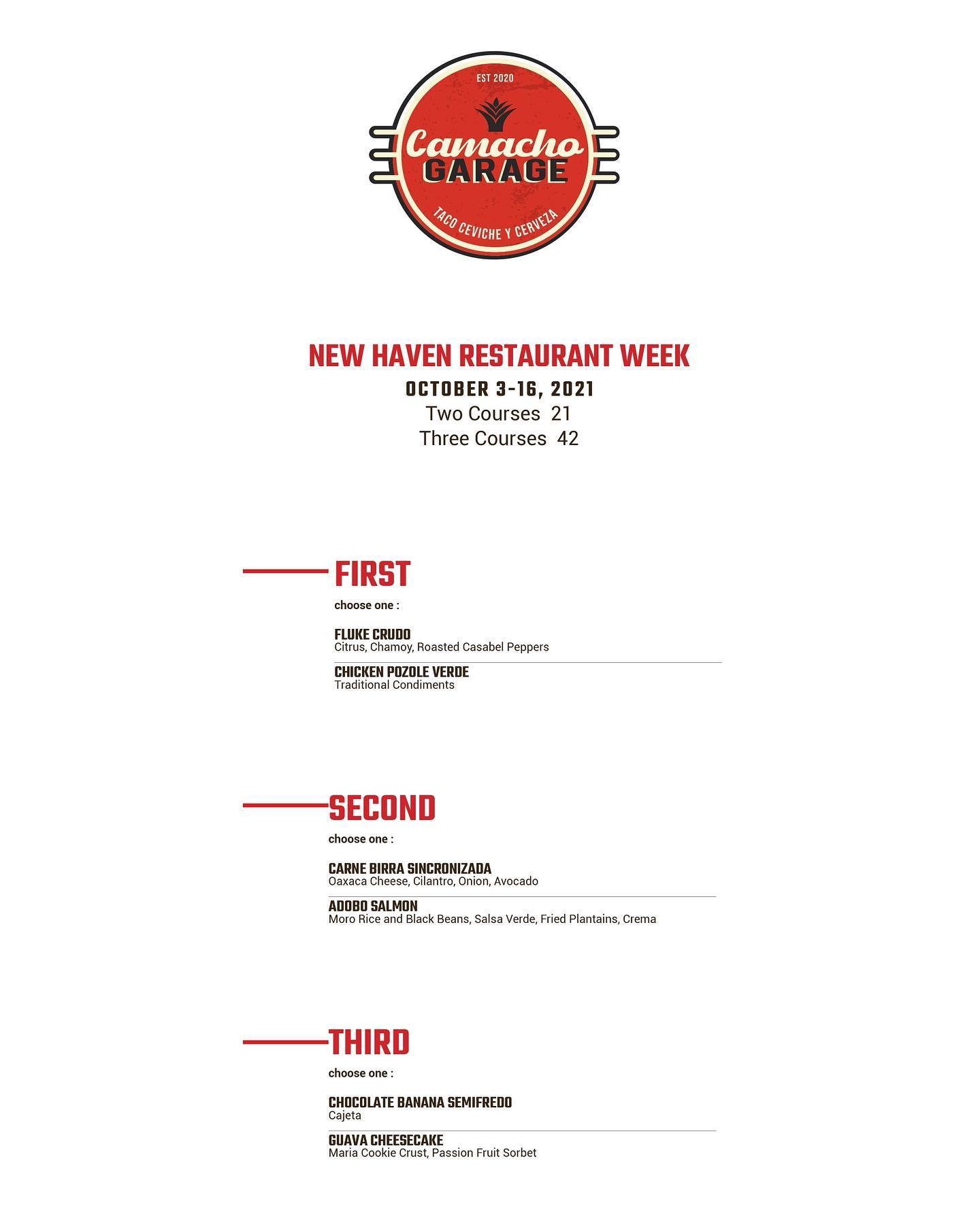 Camacho Garage New Haven Restaurant Week Menu